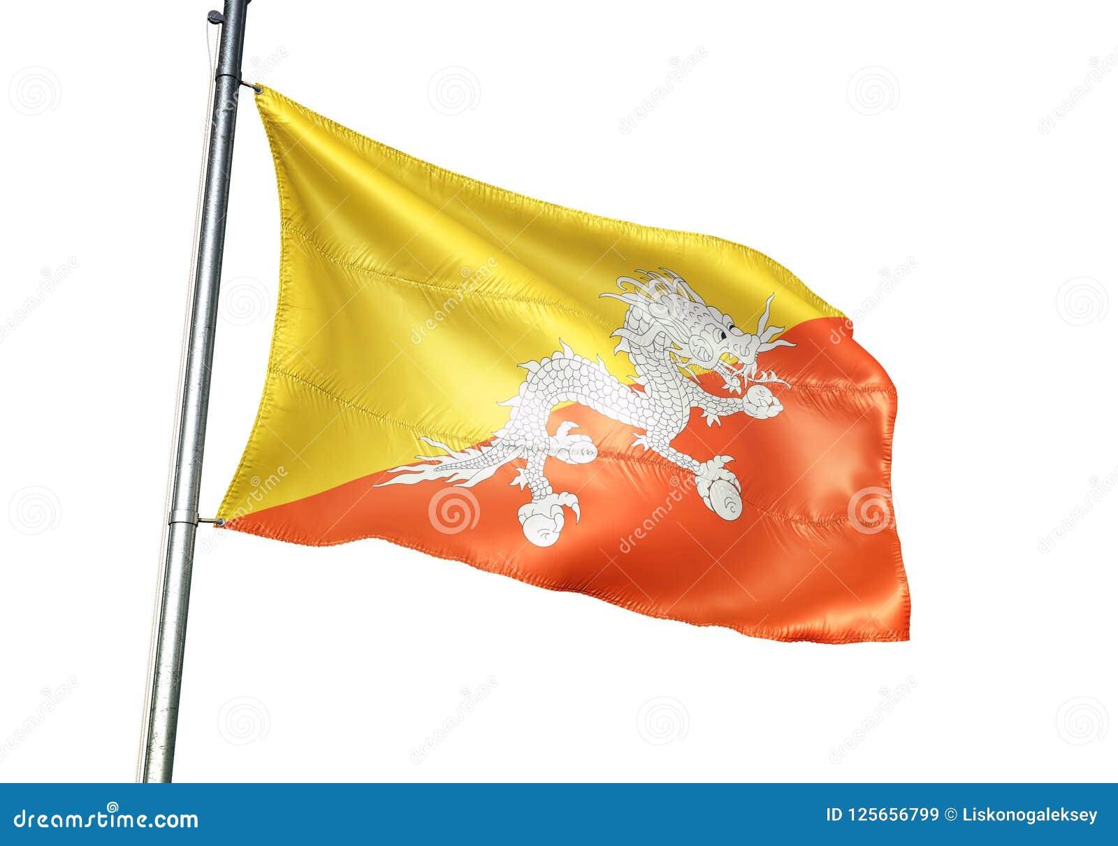 Ondulation de drapeau national du Bhutan d isolement sur l illustration 3d réaliste de fond blanc
