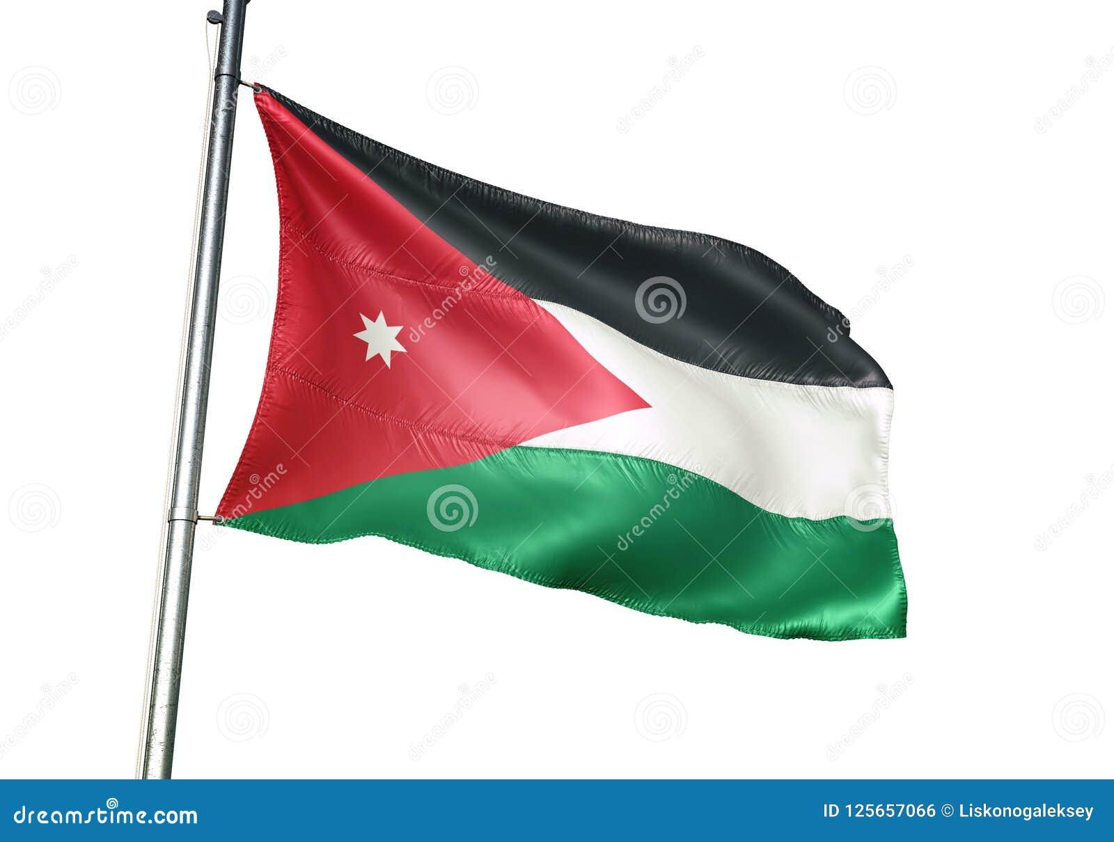 Ondulation de drapeau national de la Jordanie d isolement sur l illustration 3d réaliste de fond blanc
