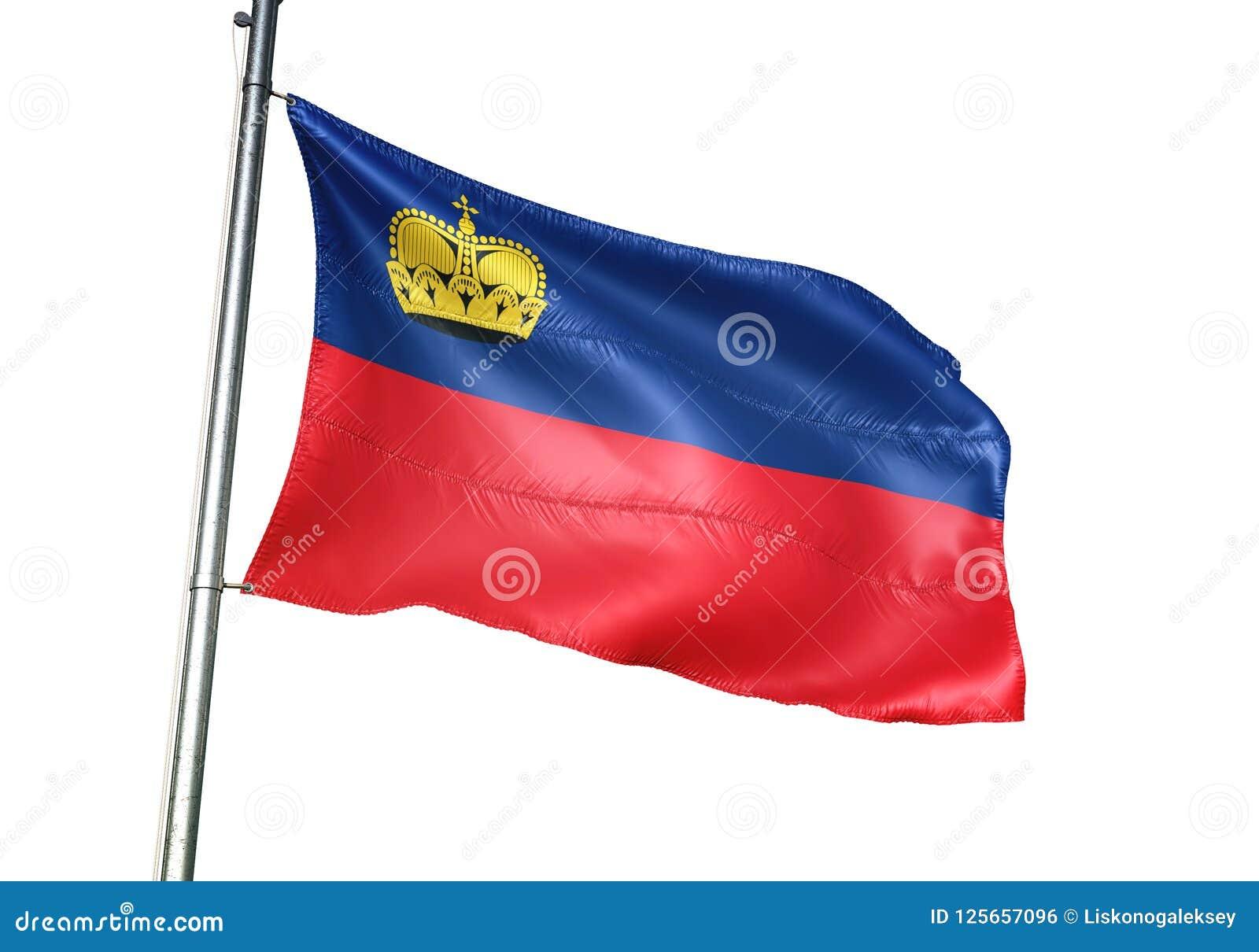 Ondulation de drapeau national de la Liechtenstein d isolement sur l illustration 3d réaliste de fond blanc