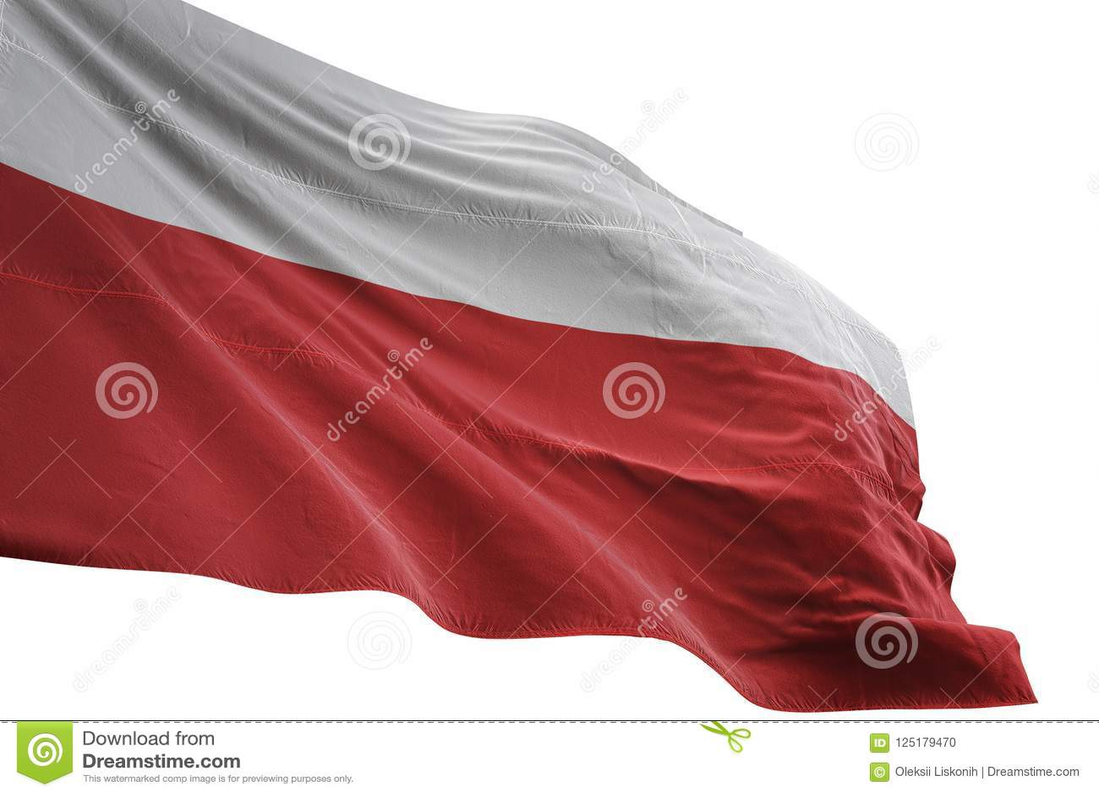 Ondulation de drapeau national de la Pologne d isolement sur l illustration blanche du fond 3d