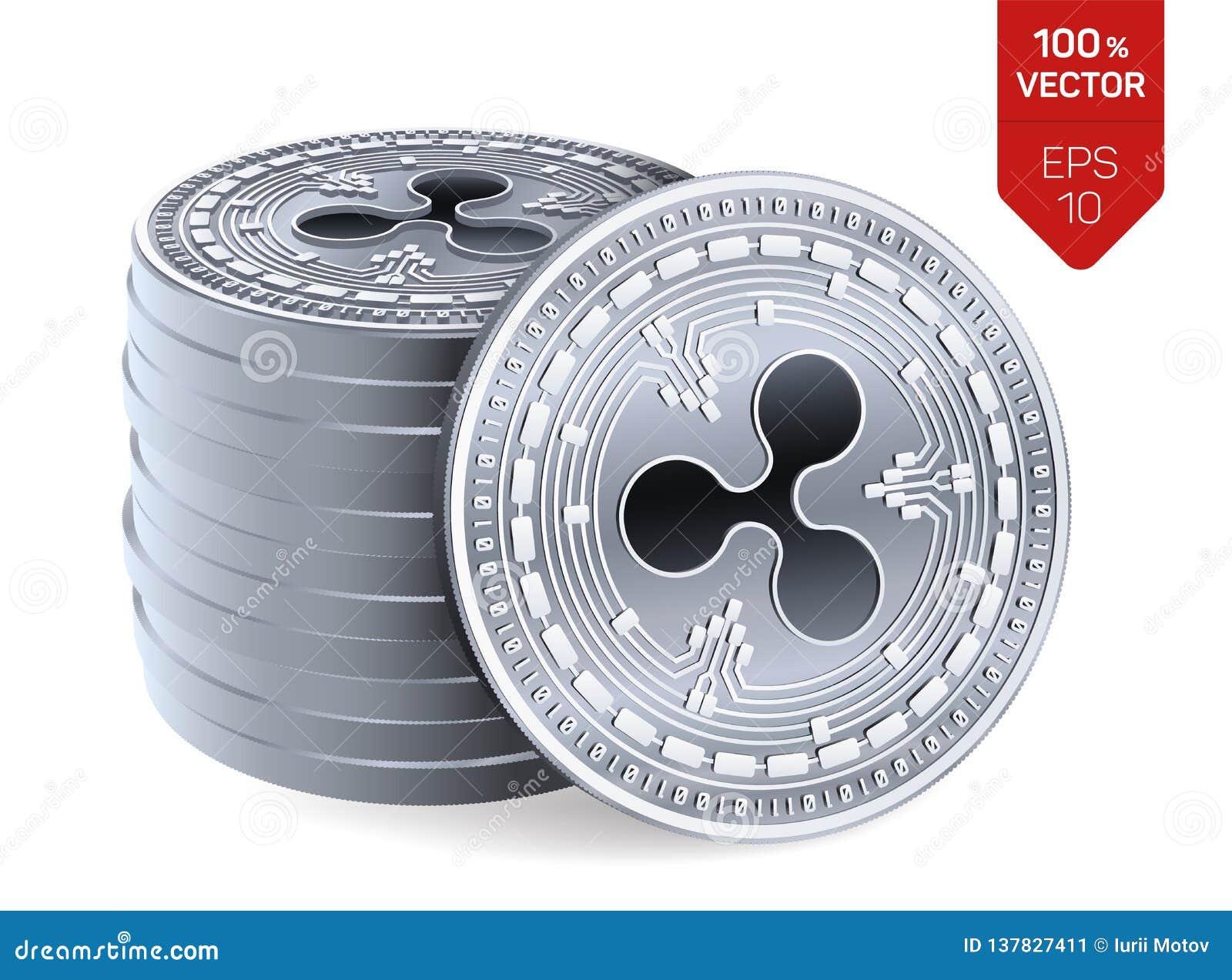Ondulation pièces de monnaie 3D physiques isométriques Devise de Digital Cryptocurrency Pile de pièces en argent avec le symbole