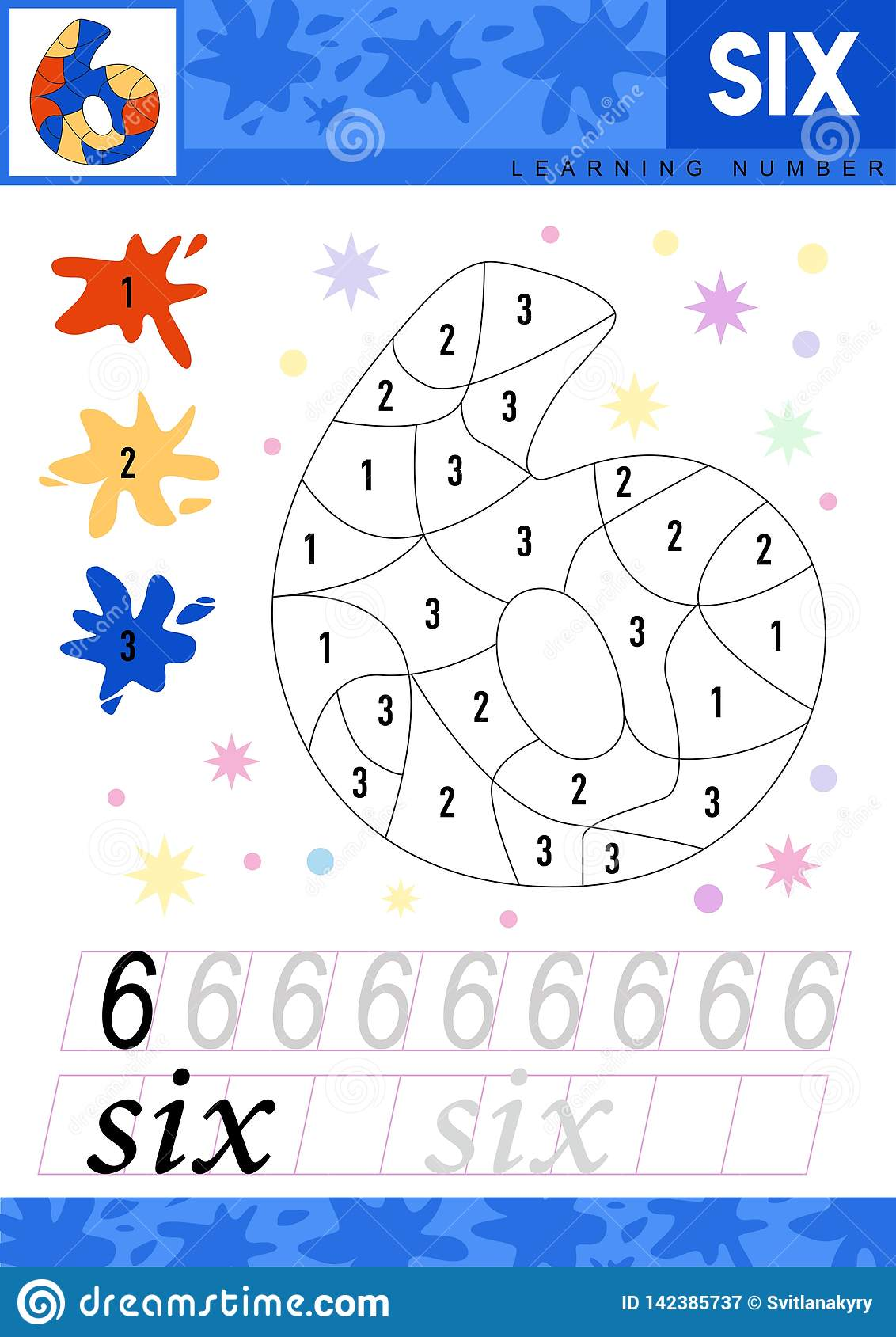 Learn numbers 6. Six. Kids learn to count worksheet. Children educational game for numbers. Vector illustration.