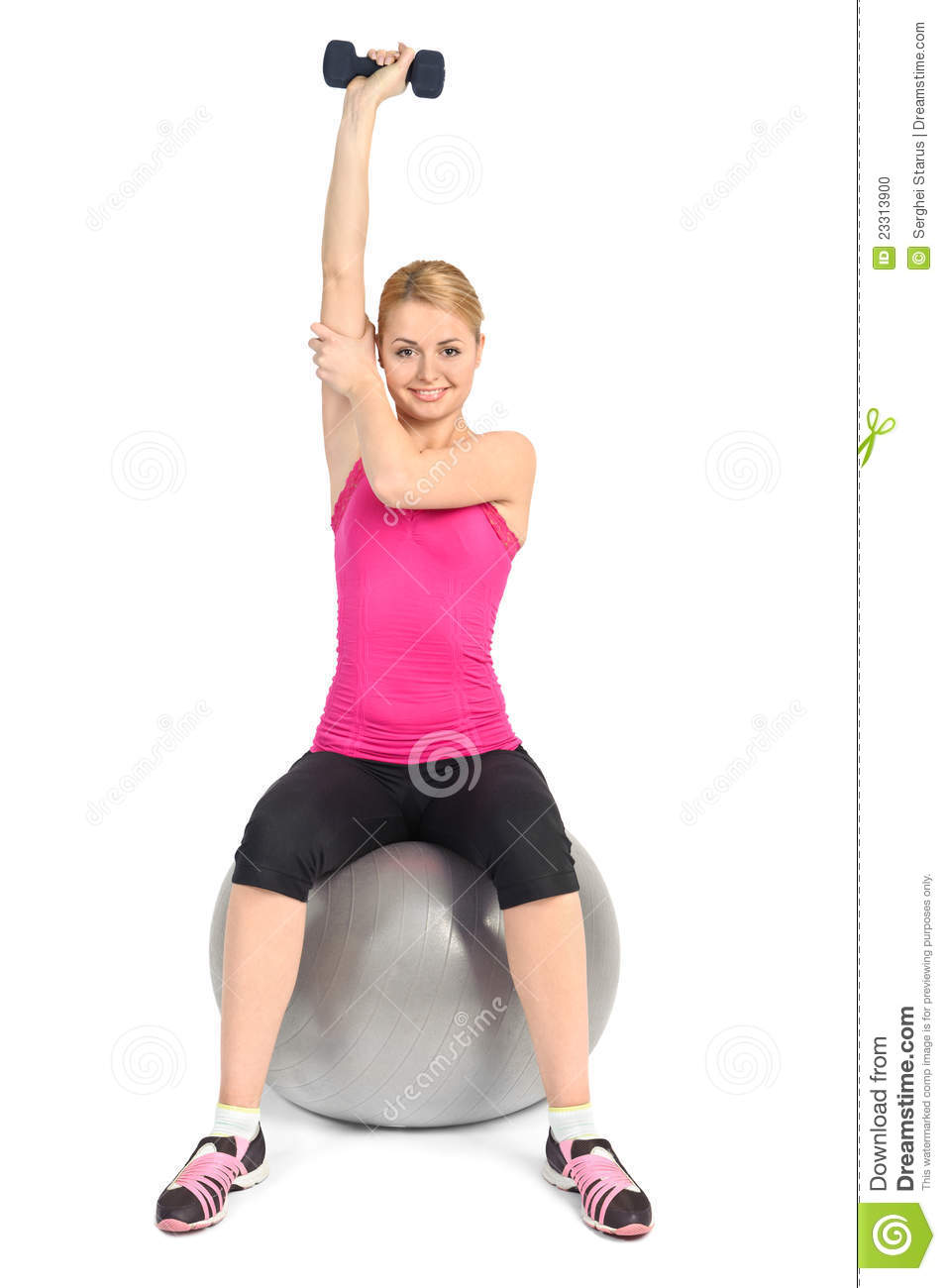 One Arm Triceps Extensions On Fitness Ball Stock Photo ...