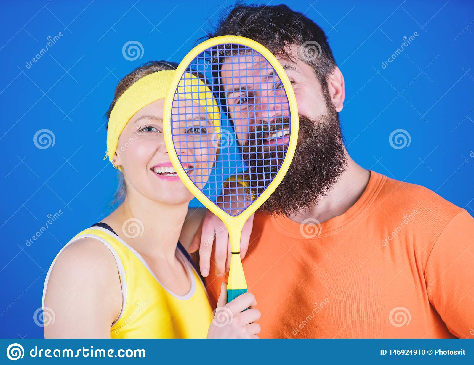 We are one. Athletic Success. Sport equipment. Happy woman and bearded man workout in gym. Strong body muscles. Sporty