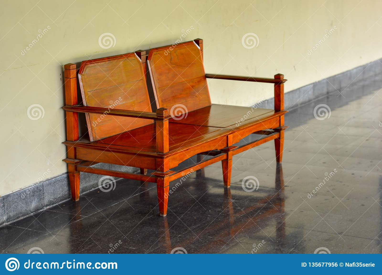 Wooden Chair To Relax In A Historic Building Stock Photo Image Of Modern Table 135677956
