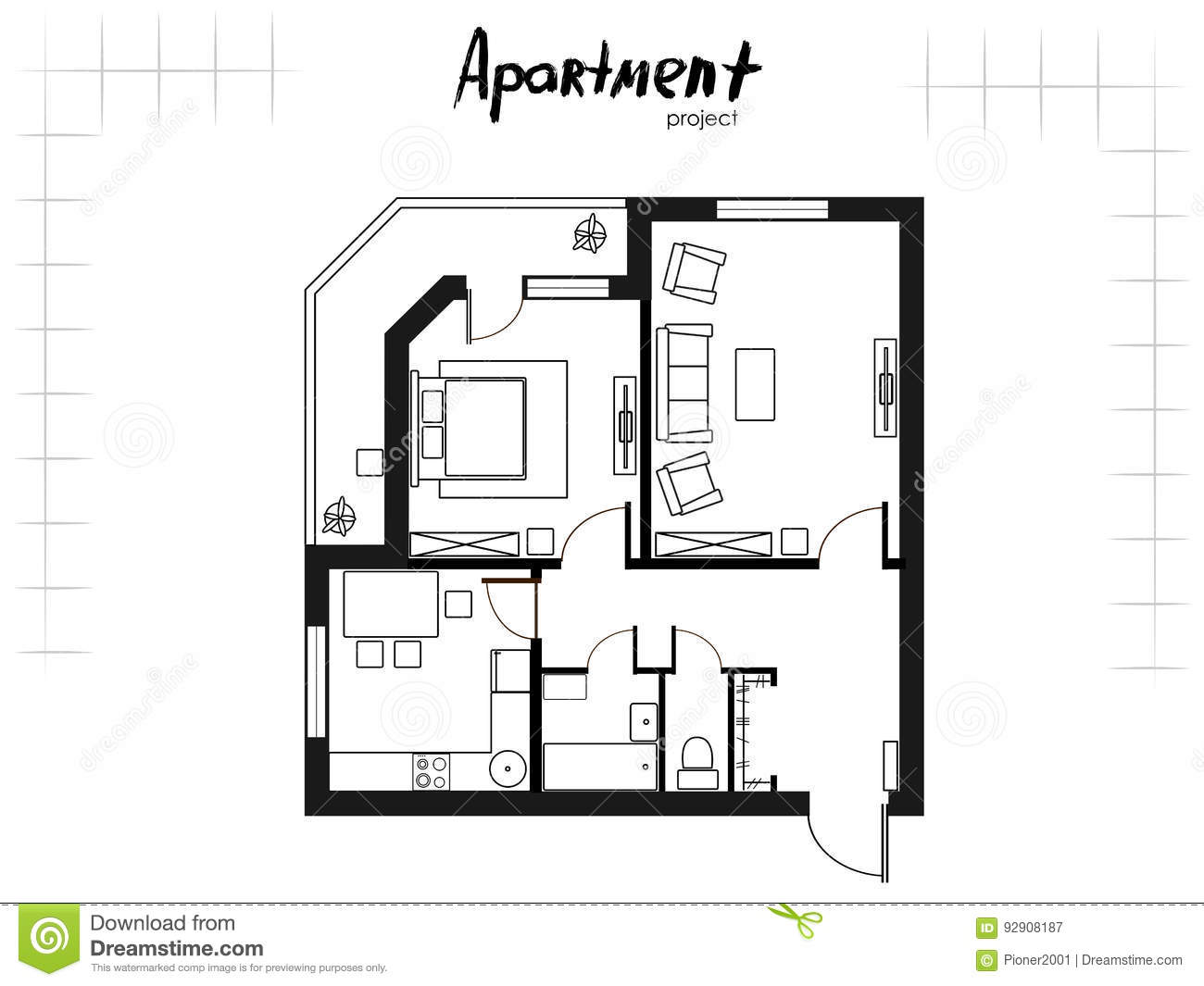One bedroom apartment stock vector. Illustration of ...