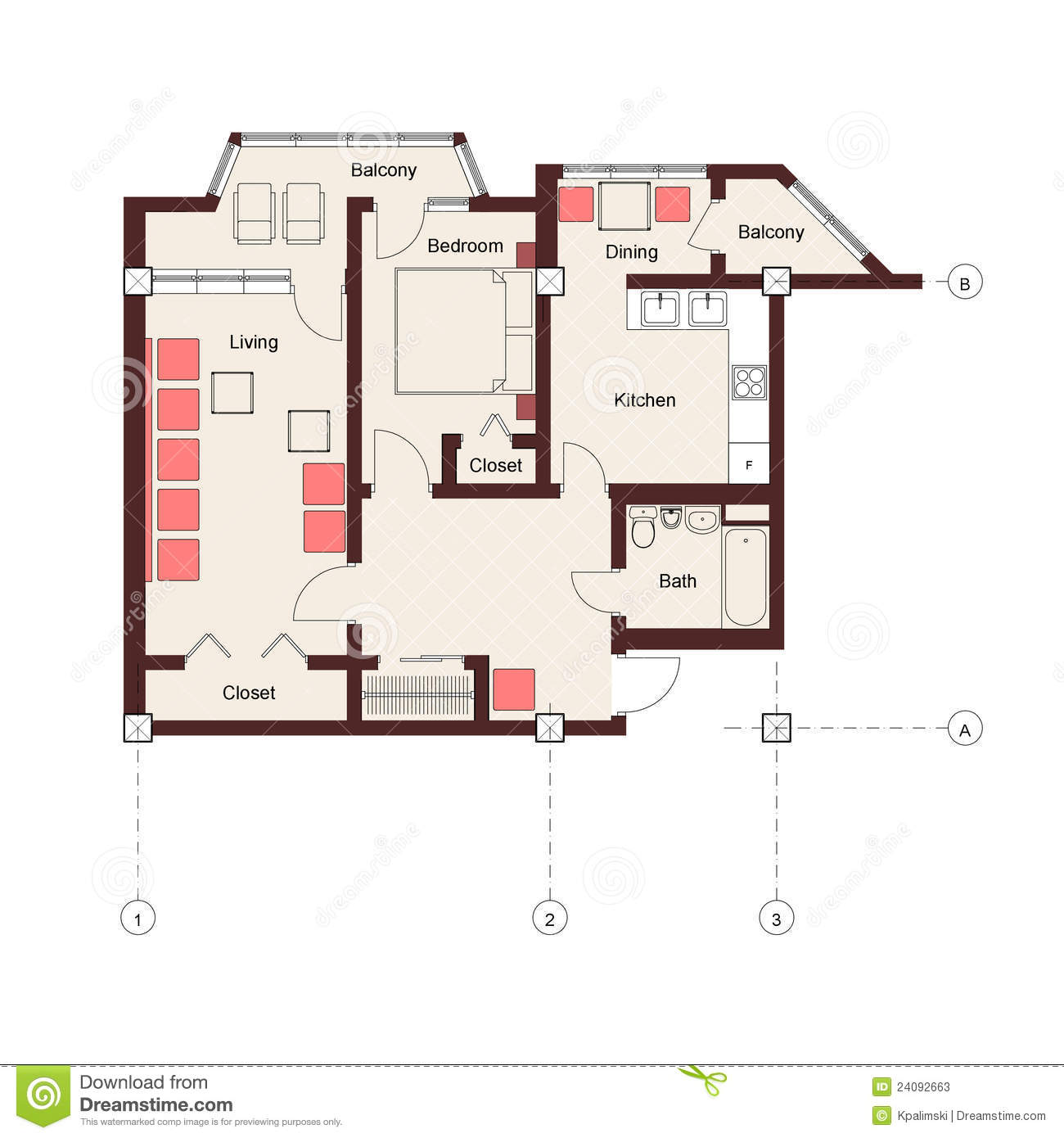 One Bedroom Apartment Plan Stock Photos Image 24092663