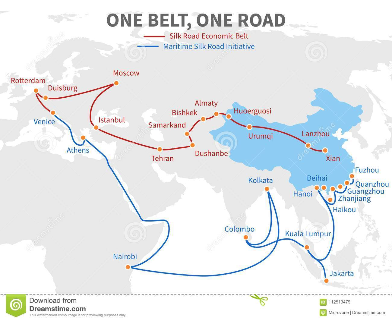 One Belt - One Road Chinese Modern Silk Road. Economic Transport Way China Road Map In Chinese on