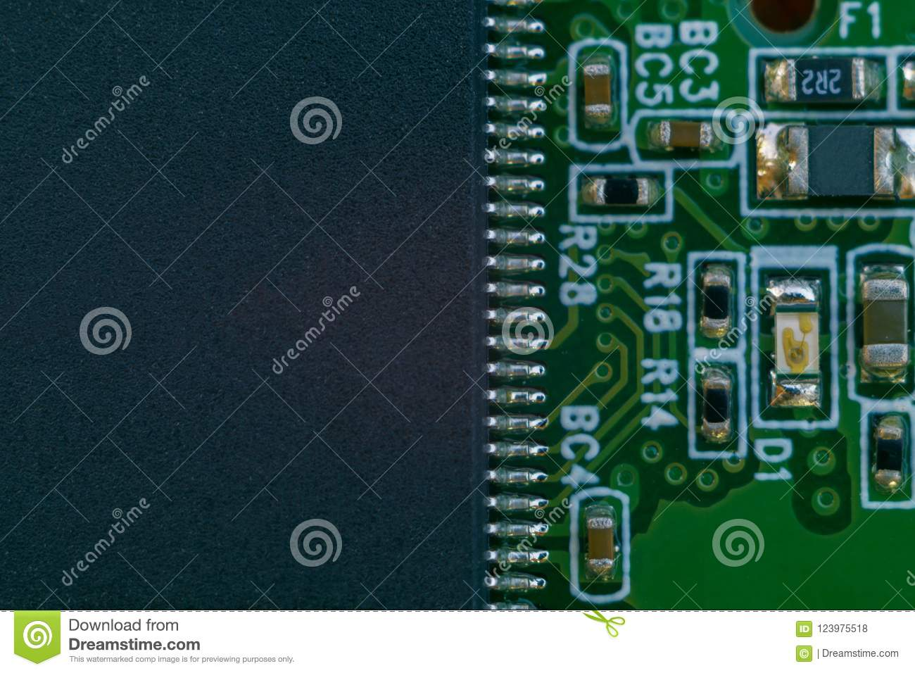 One big digital microscheme on motherboard with many leags