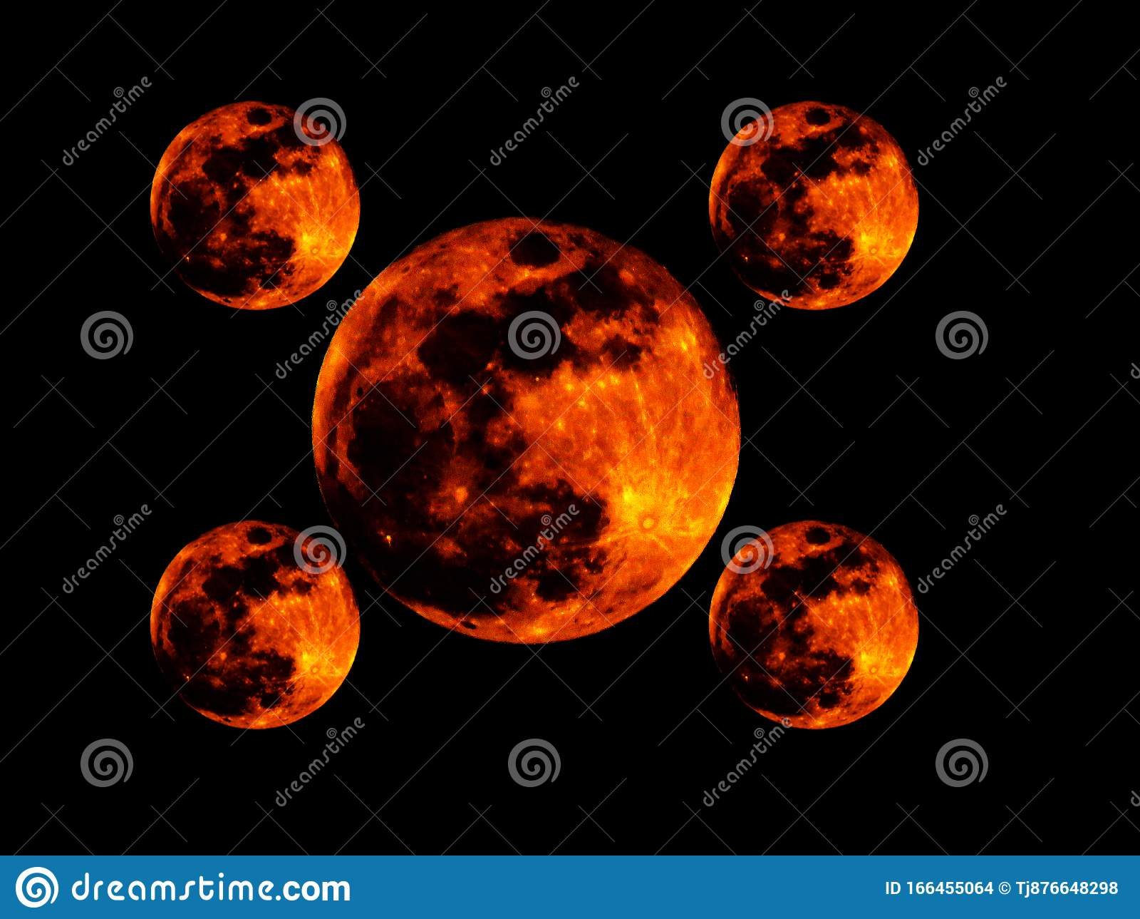 One Big And Four Small Bright Full Orange Red Blood Moon On Black Background Wallpaper With Repeated Figures Stock Illustration Illustration Of Abstract Banner 166455064