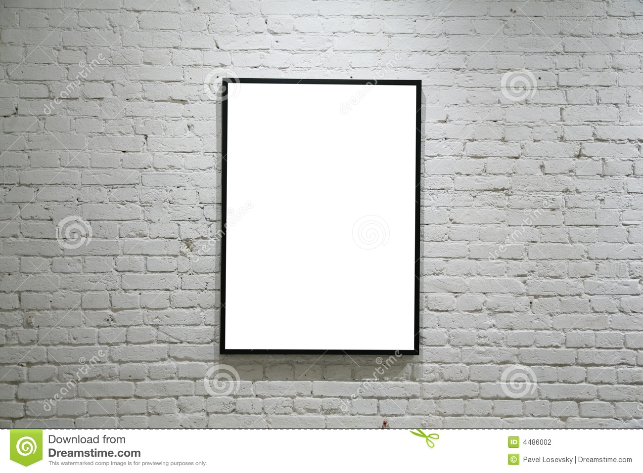One Black Frame On White Brick Wall Stock Photo - Image of black ...