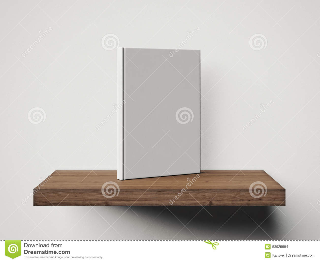 One blank white book on a brown shelf. 3d