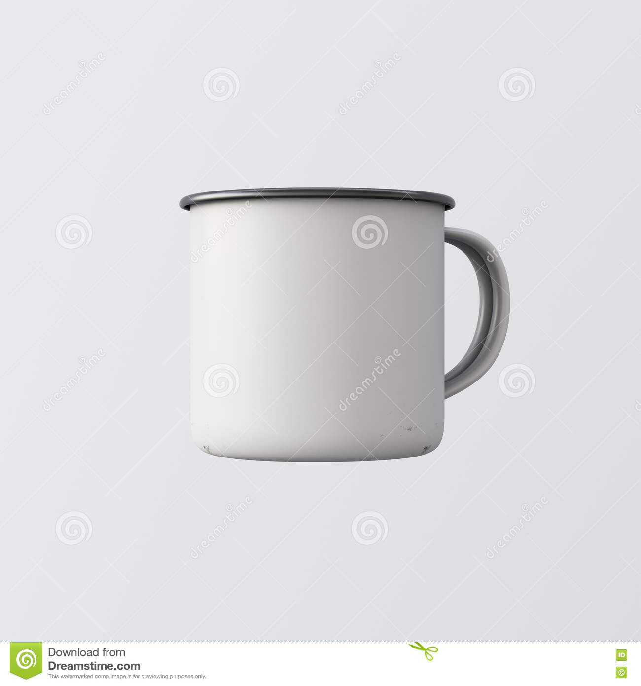 dc53ef7b54b One Blank White Color Metal Coffee Mug Isolated Empty Background ...