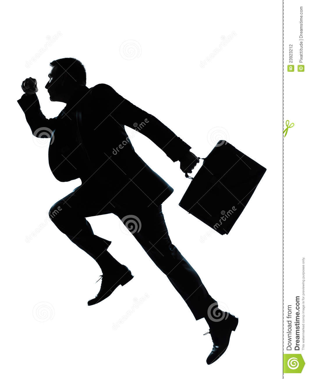 Running Man In Suit Silhouette One Business Man Jumpi...