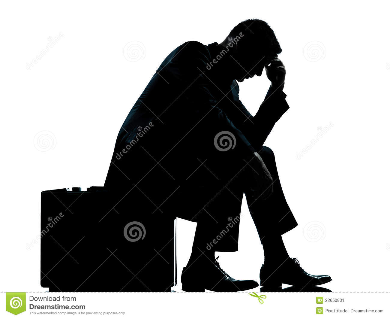 One business man sitting on suitcase silhouette