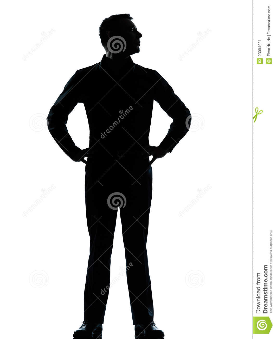 One Business Man Standing Hands On Hips Silhouette Stock
