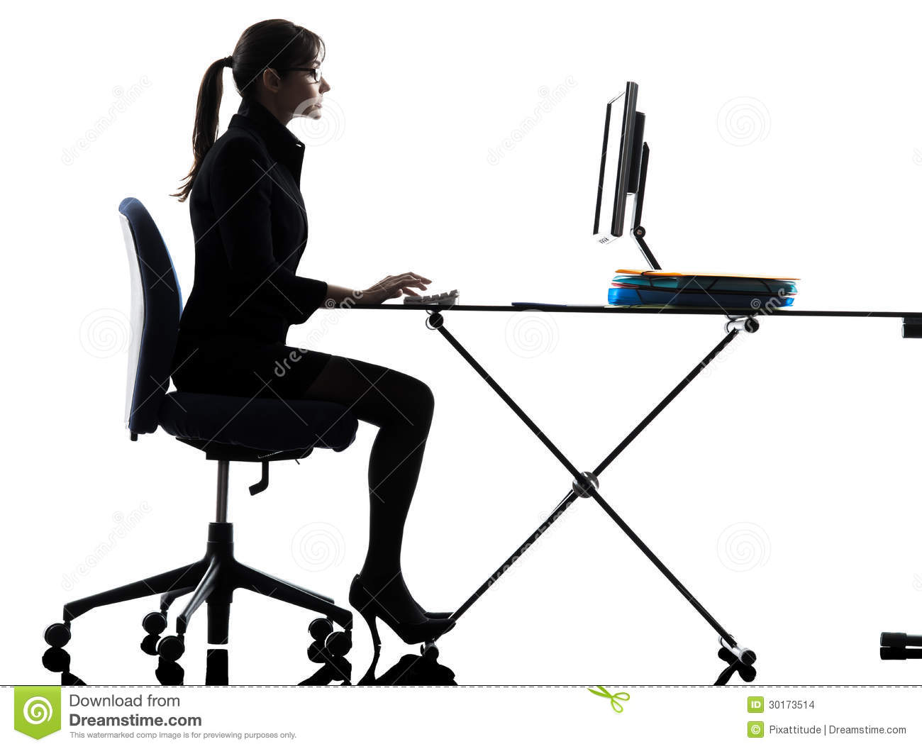Business Woman Typing Royalty-Free Stock Photo ...
