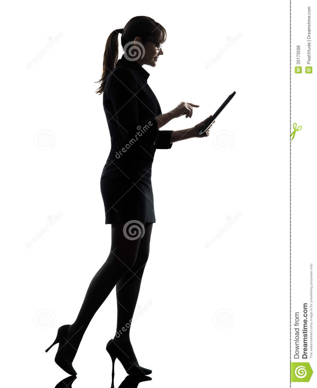 Business Woman Walking Computer Computing Typing Digital ...