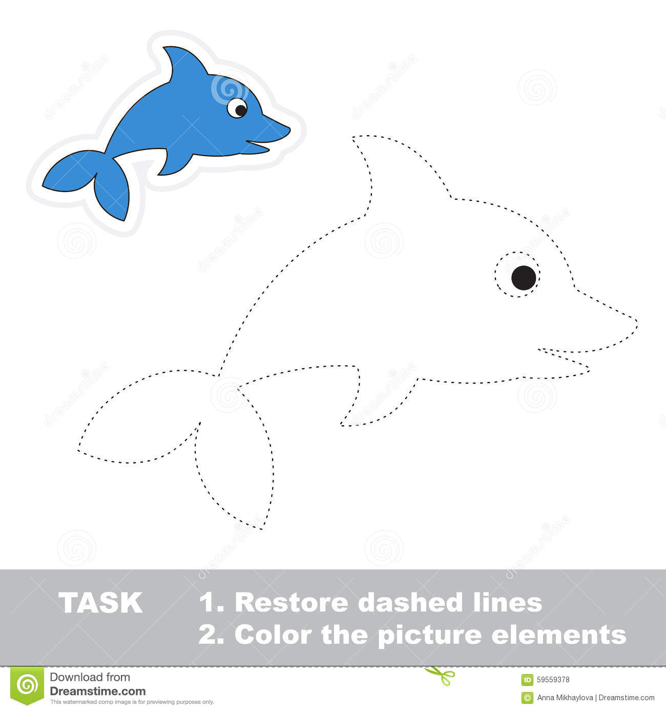 One Cartoon Dolphin. Restore Dashed Line And Color Stock Vector ...