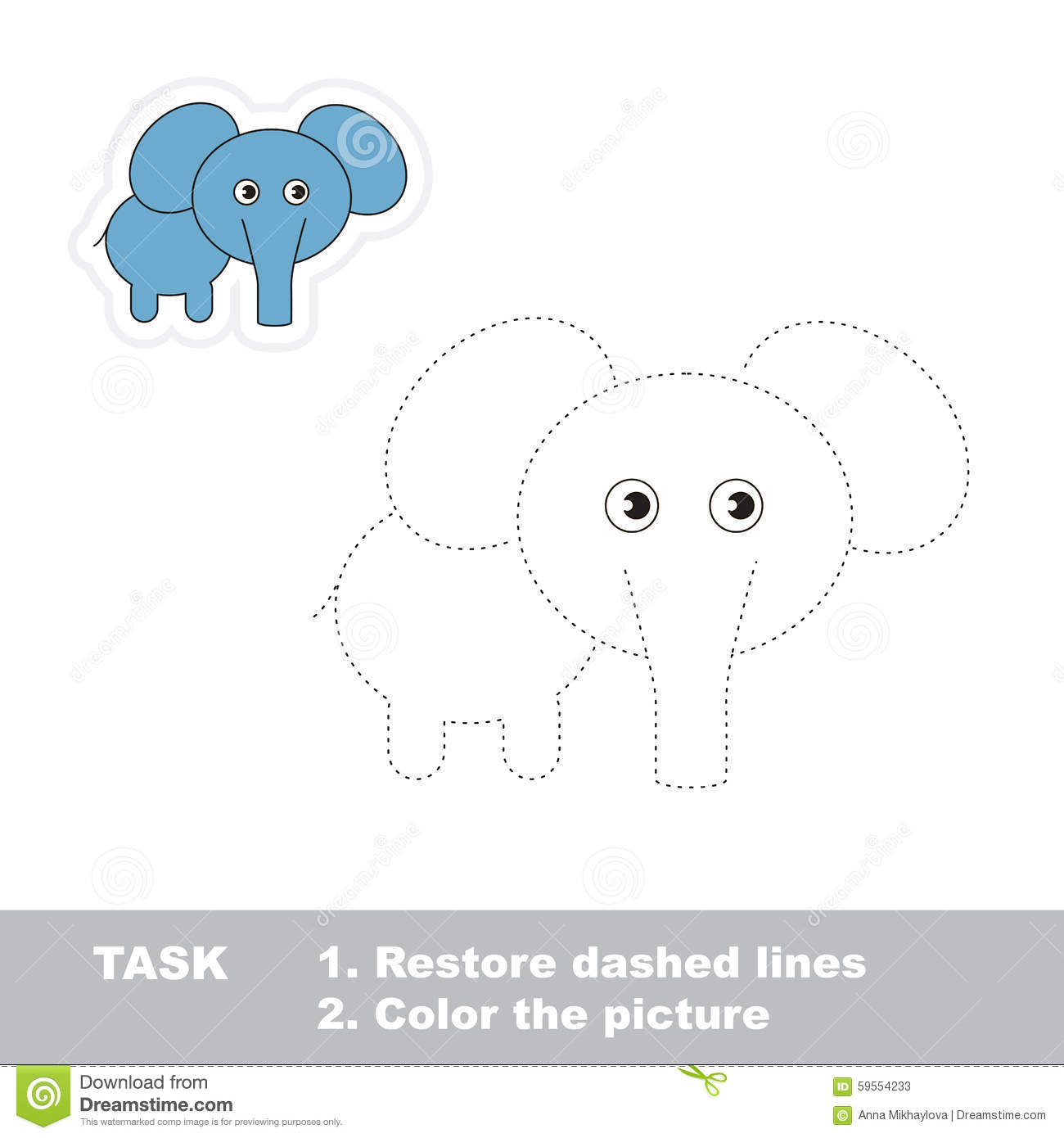 one cartoon elephant to be traced stock vector image 59554233