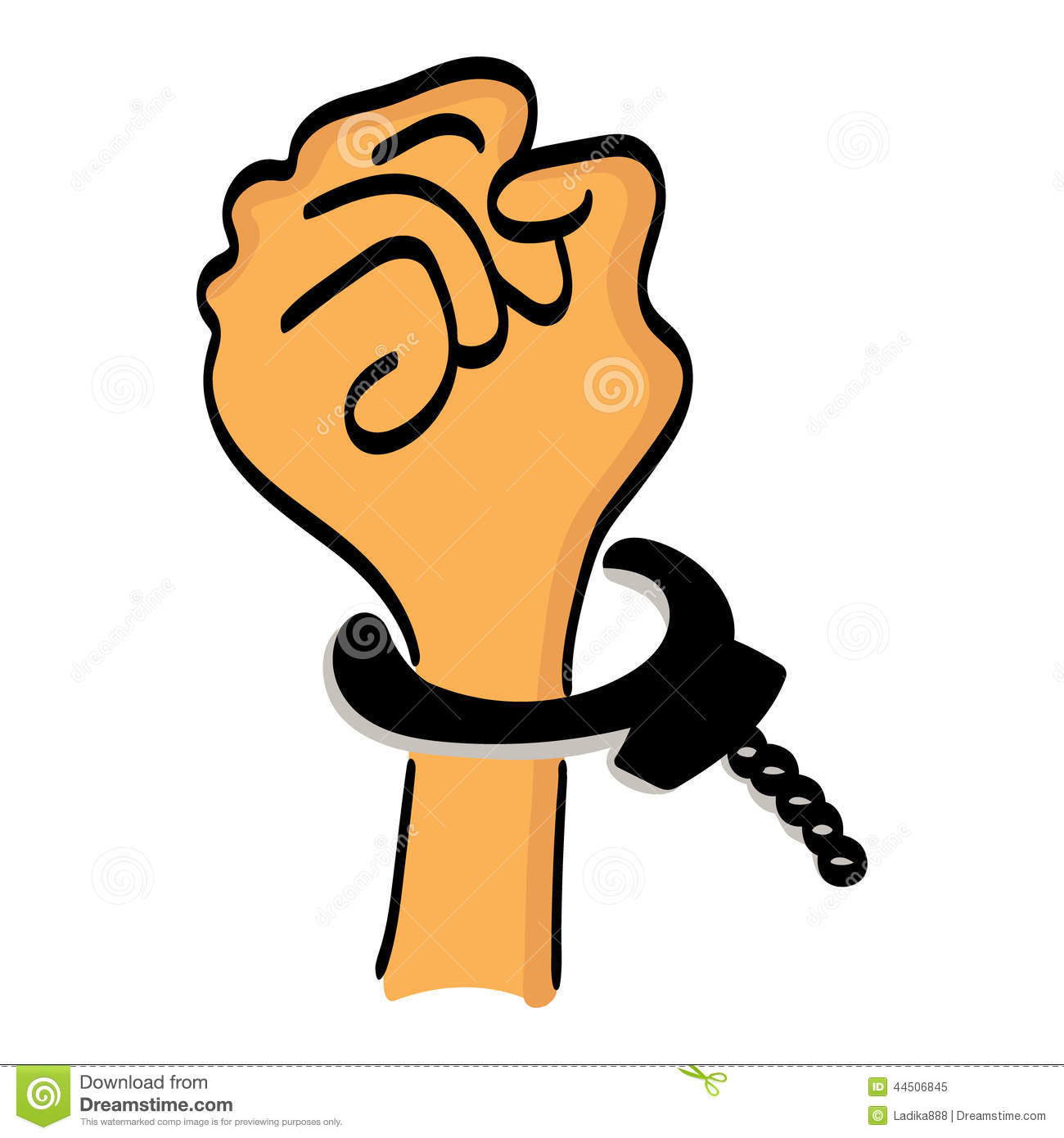 One Cartoon Hand Man In Handcuffs Stock Vector - Image: 44506845