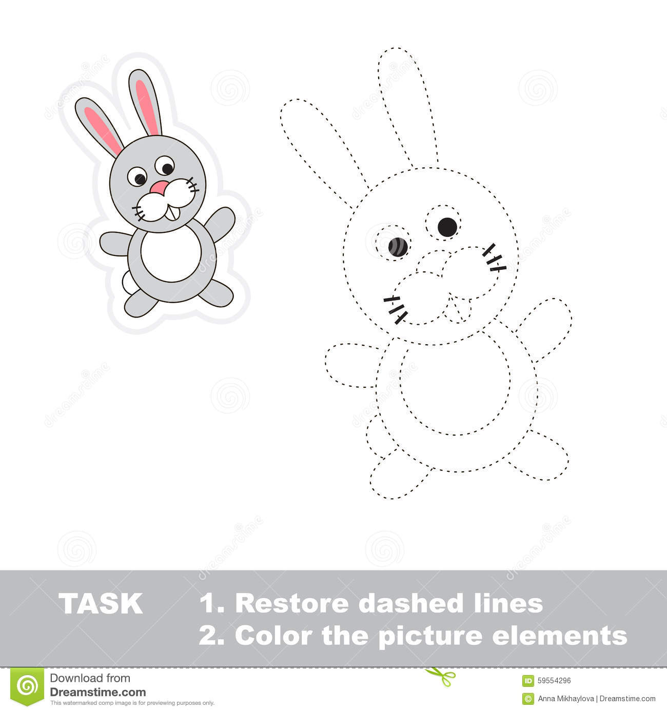 One cartoon rabbit. Restore dashed line and color