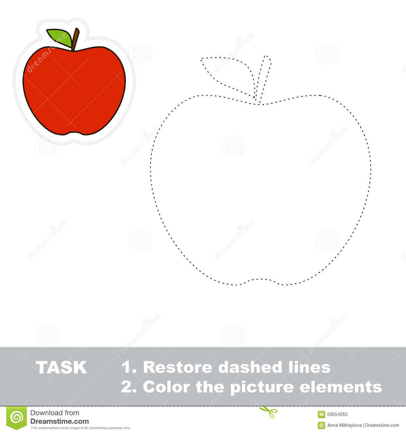 one cartoon red apple stock vector image of line