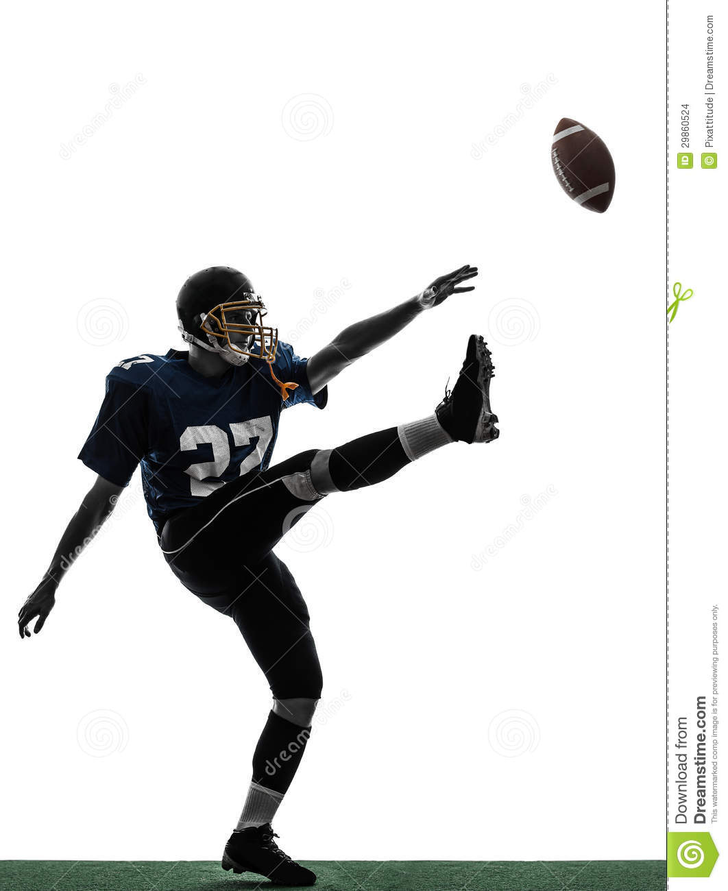 American Football Player Man Kicker Kicking Silhouette Stock Images ...
