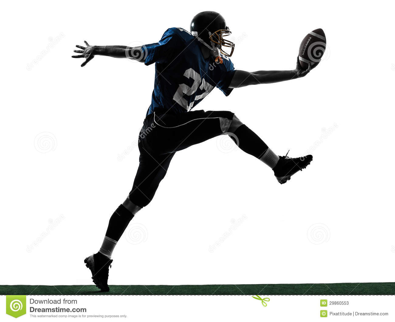 American Football Player Man Scoring Touchdown Silhouette Stock Photos ...