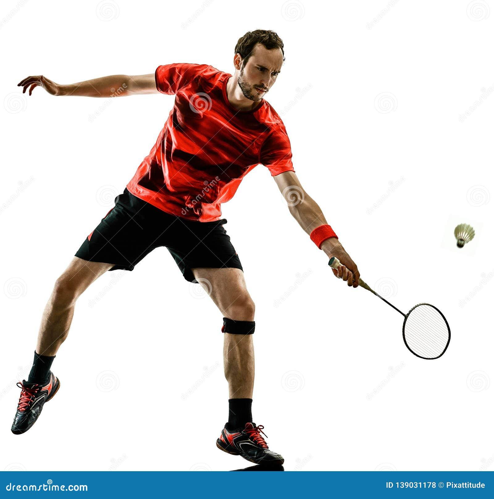 Badminton Player Man Shadow Silhouette Isolated White Backgroun