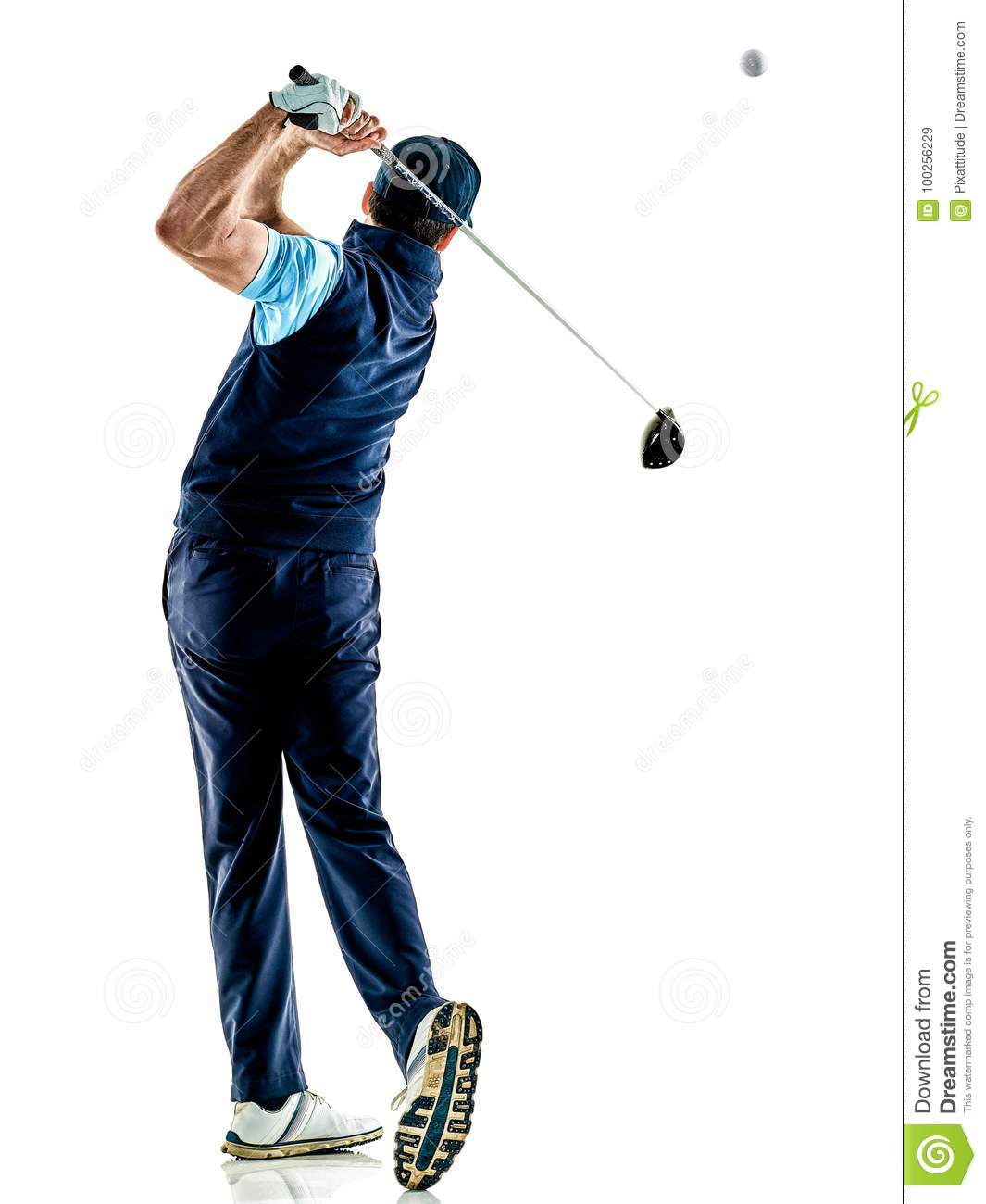 Man golfer golfing isolated withe background