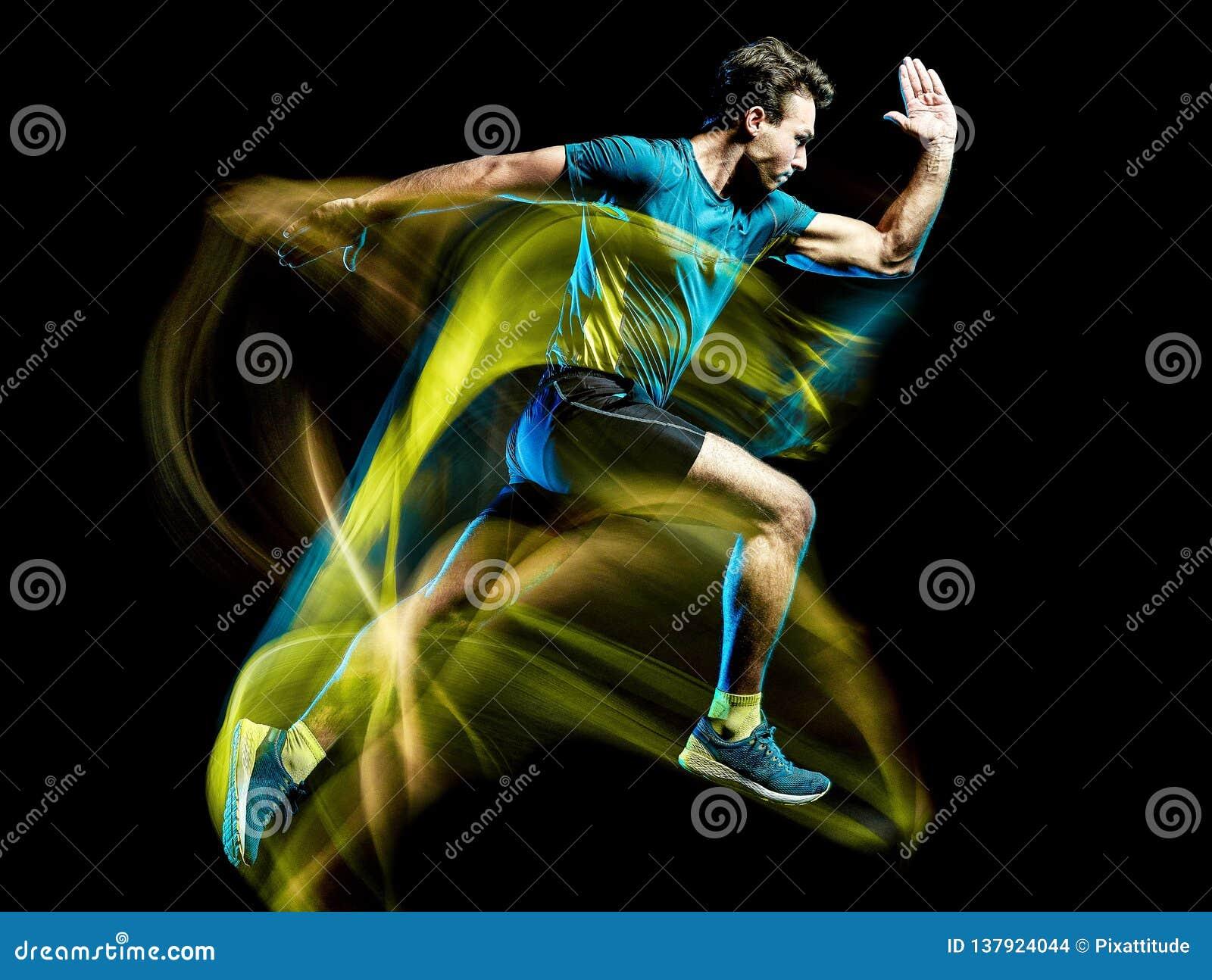 Runner running jogger jogging man isolated light painting black background
