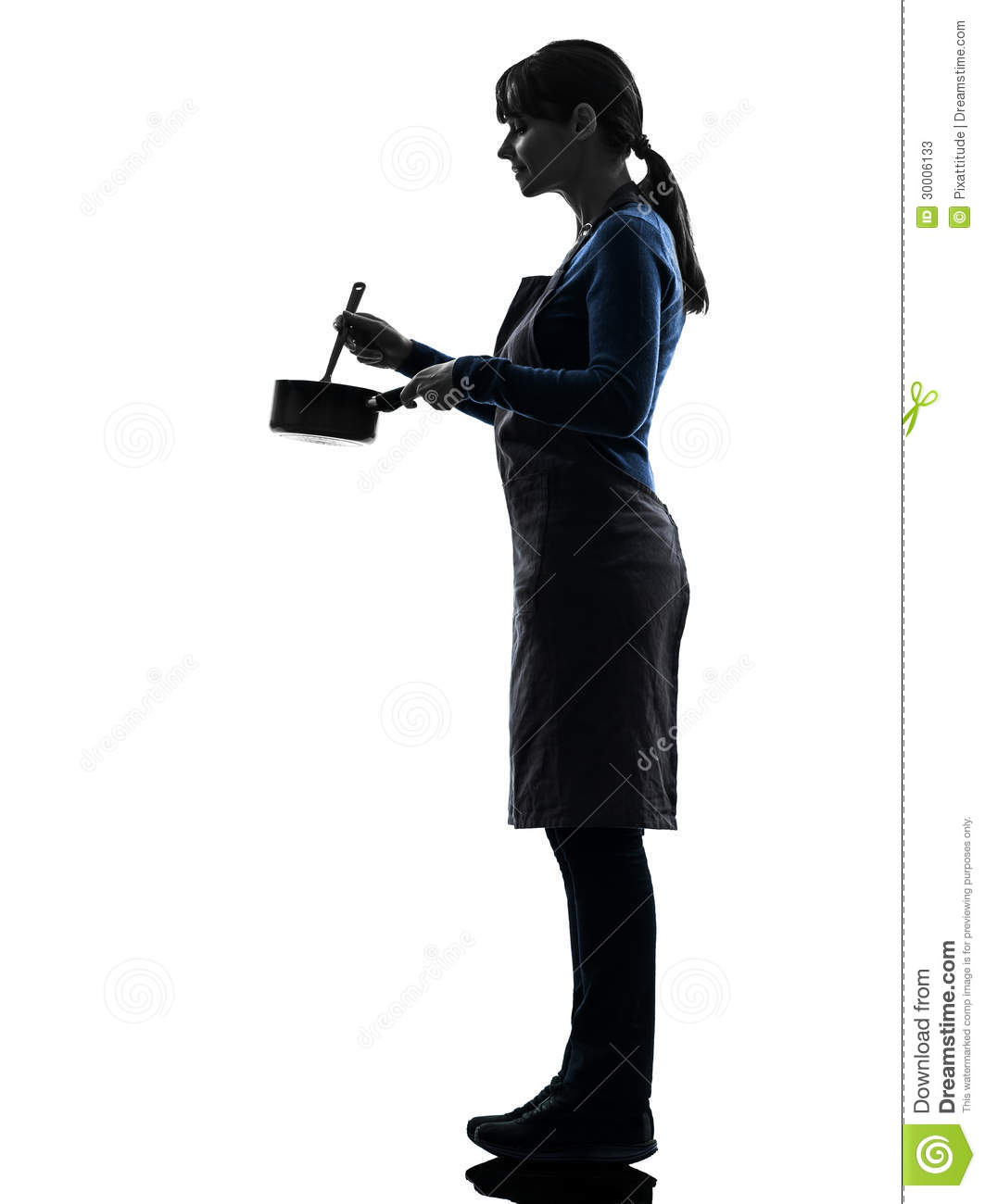 Woman Cooking Mixing Saucepan Silhouette Stock Image ...