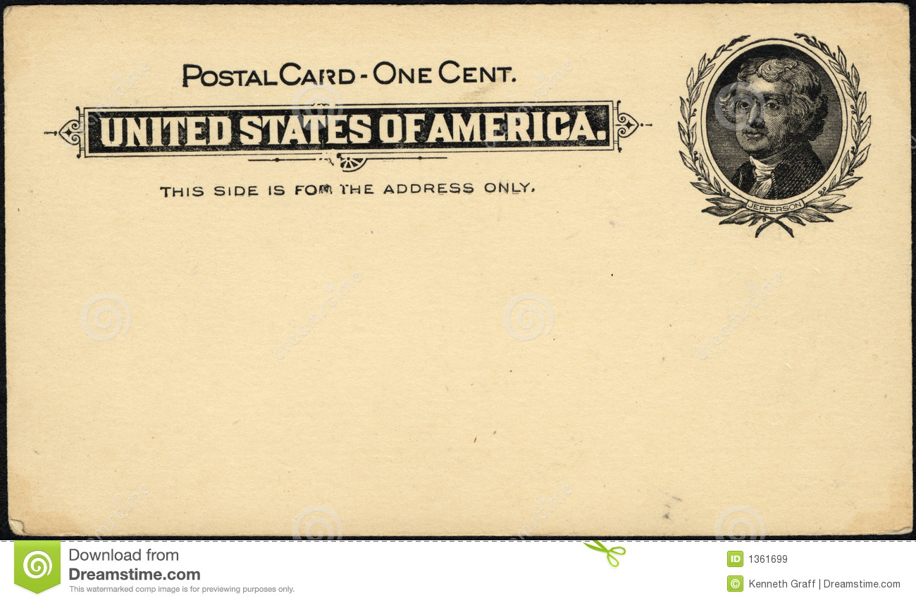 One cent postcard stock image  Image of letter, stamp - 1361699