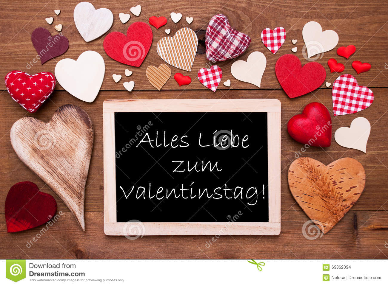 One Chalkbord, Many Red Hearts, Valentinstag Means Valentines Day