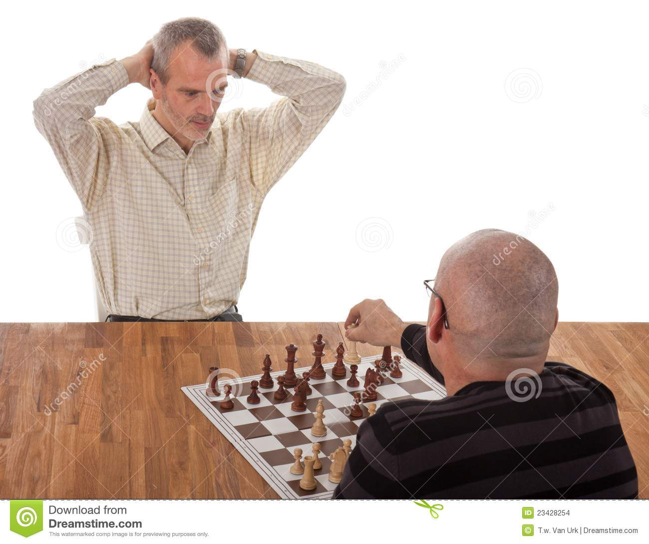 One chess player checkmates the other