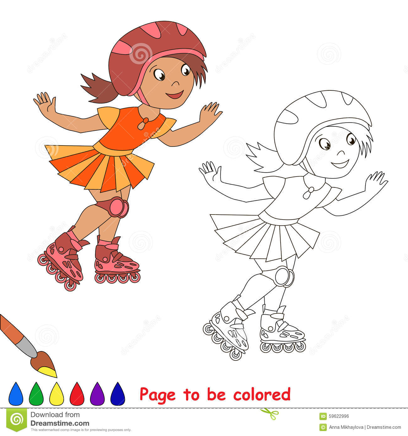 Roller skates one line - One Child Girl Roller Skating In A Red Helmet And