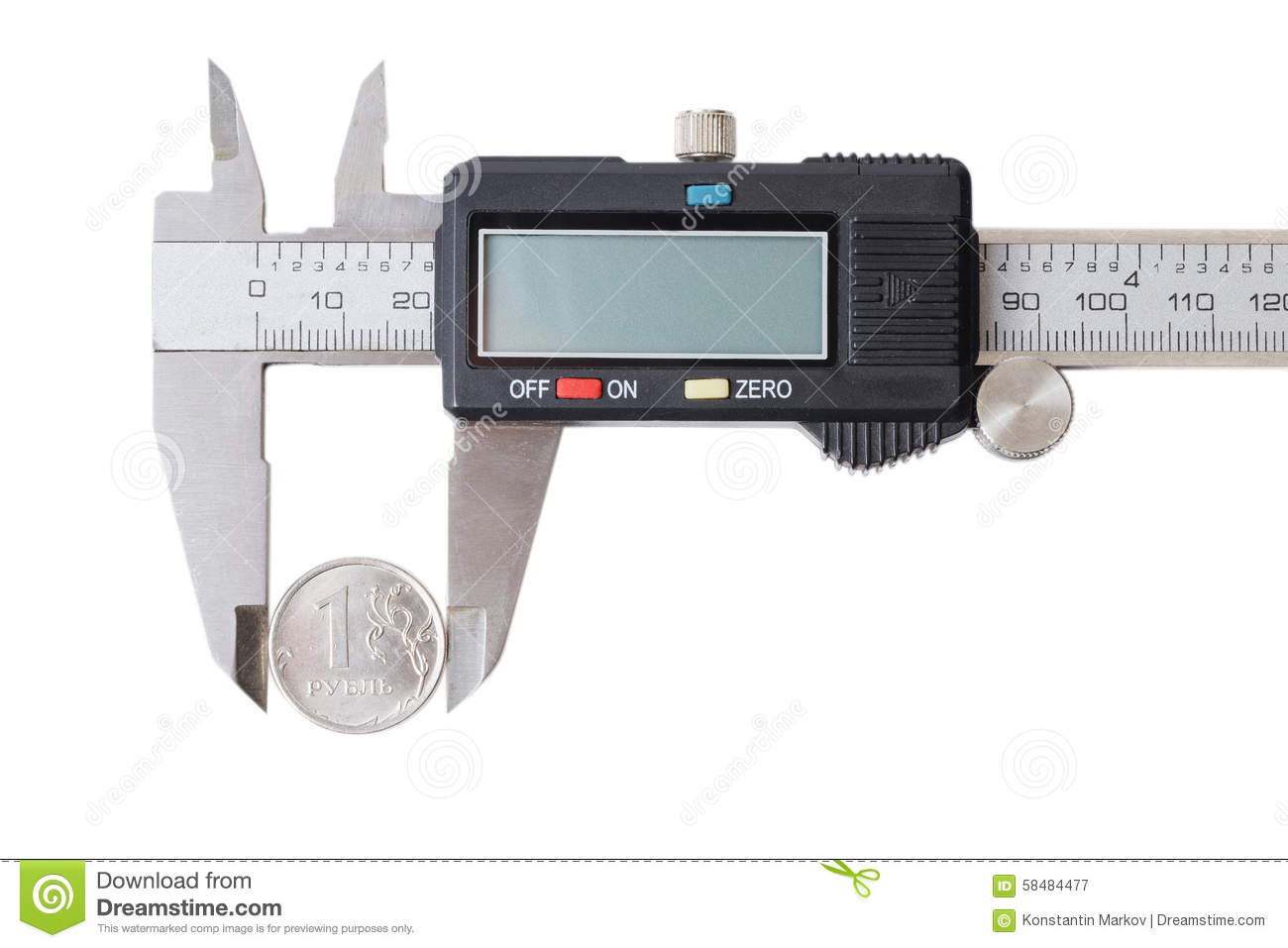 One Coin Measured With A Caliper Stock Image - Image of