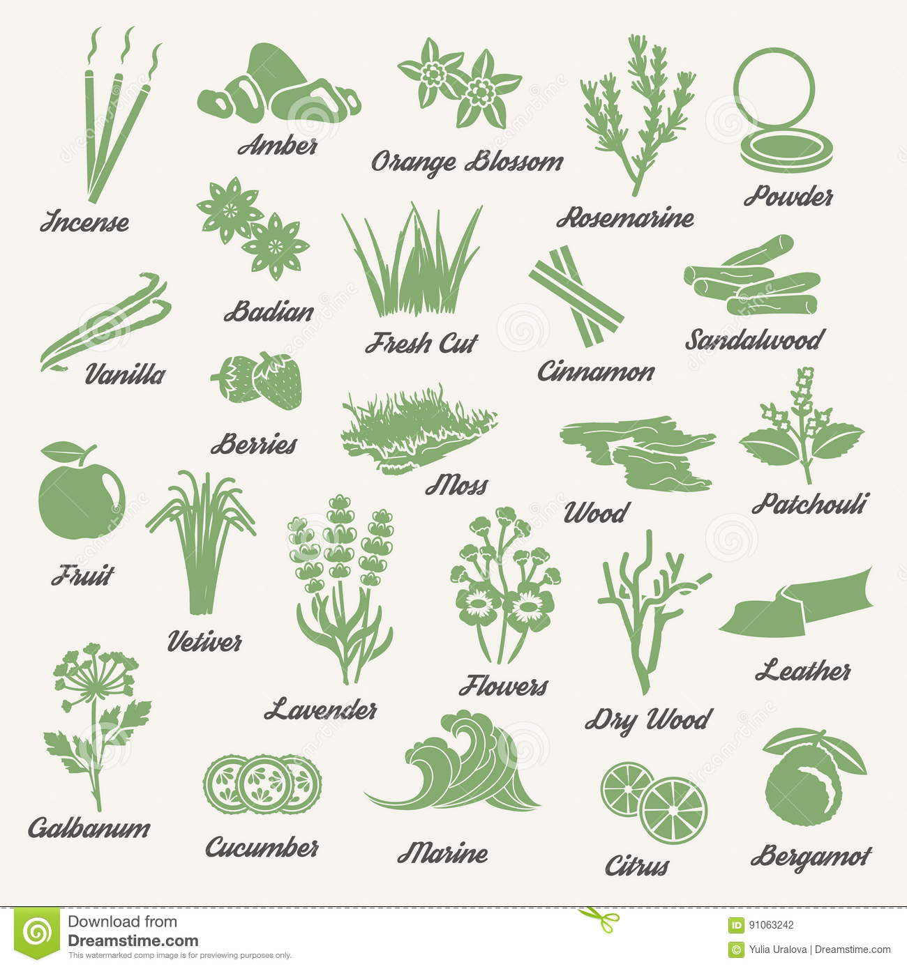 One Color Aromatic Herbs And Plants Icons Stock Vector