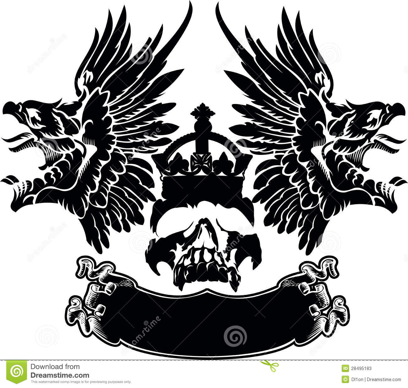 One Color Eagle Wings Skull Symbol Stock Vector Illustration Of