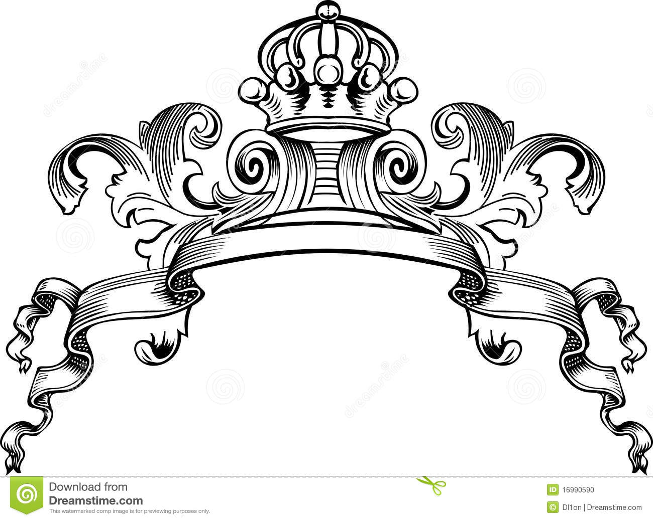 One Color Royal Crown Vintage Banner Stock Photo - Image: 16990590