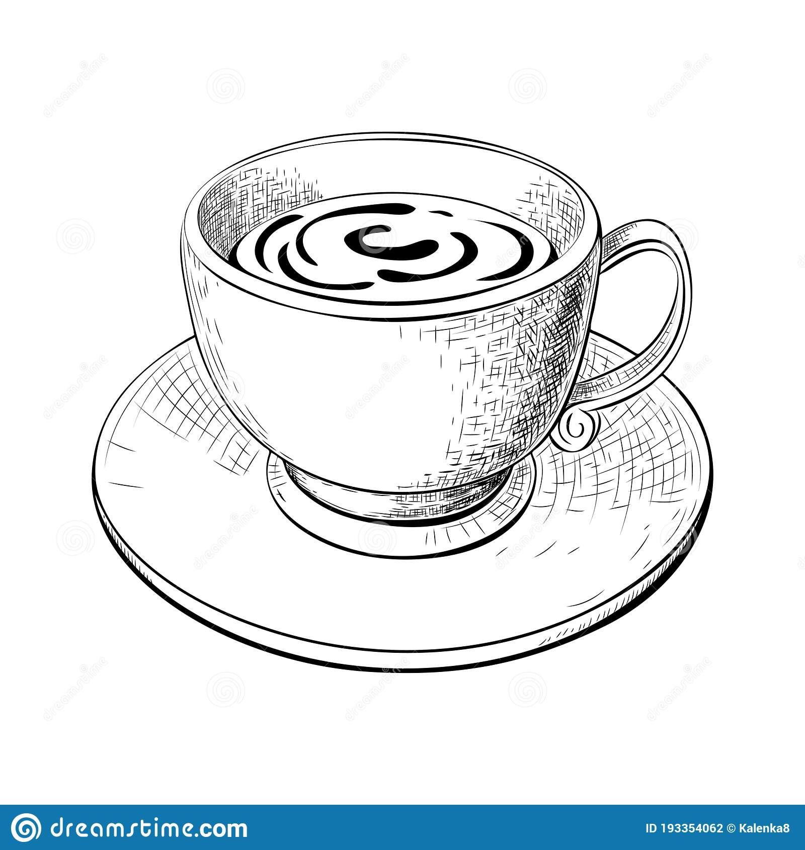 One Cup Of Coffee Or Tea With Saucer Hand Drawn Sketch Isolated On White Engraved Vector Illustration Of Coffee Or Tea Stock Vector Illustration Of Espresso Cappuccino 193354062