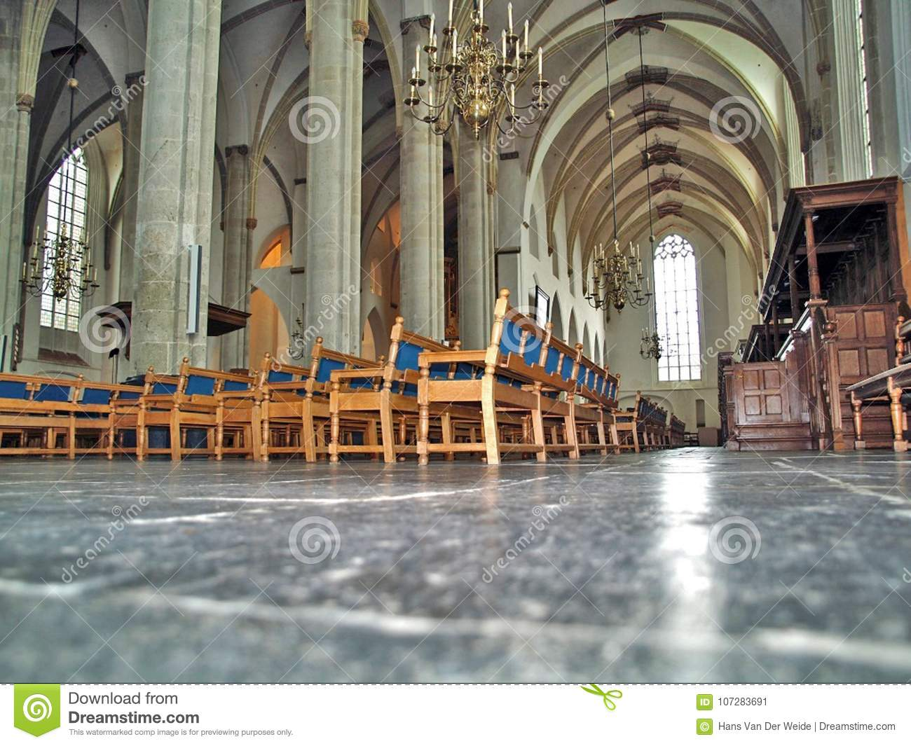 Interior of Gothic church photographed from frog perspective
