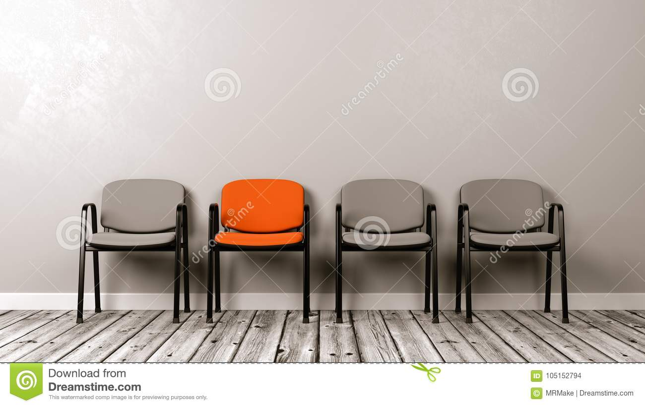 One Different Colored Chair in a Row of Grey