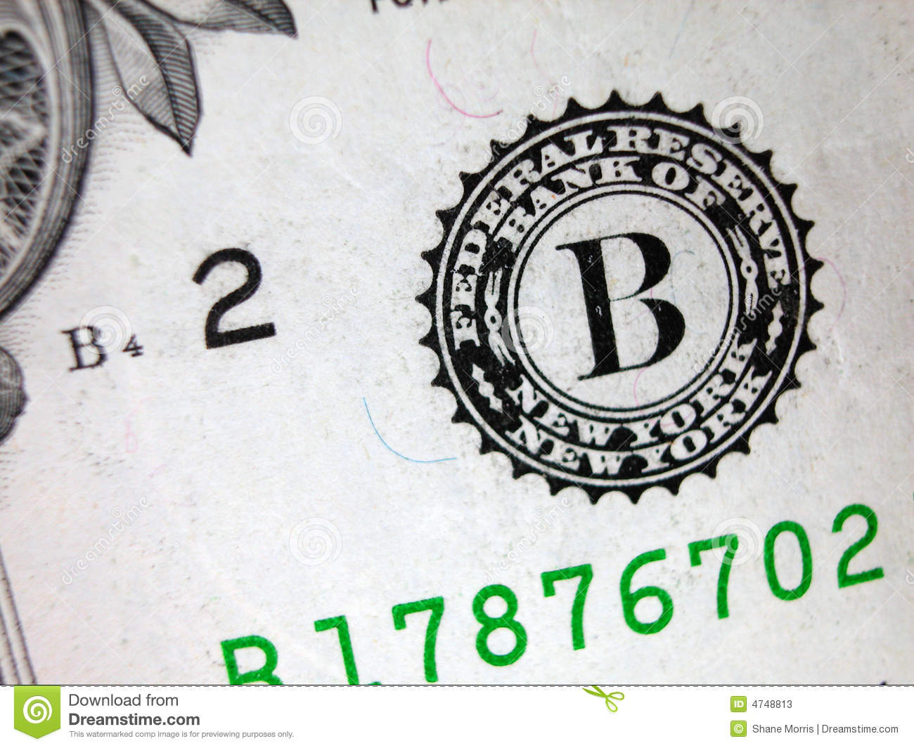 One Dollar Bill Federal Reserve Seal Stock Image Image Of