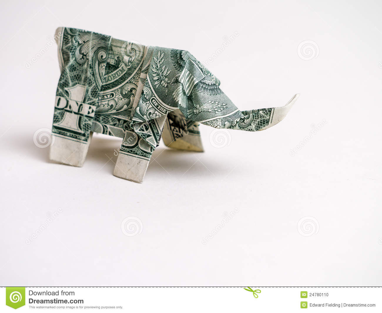 One Dollar Bill Origami Elephant Stock Photo Image Of Cash