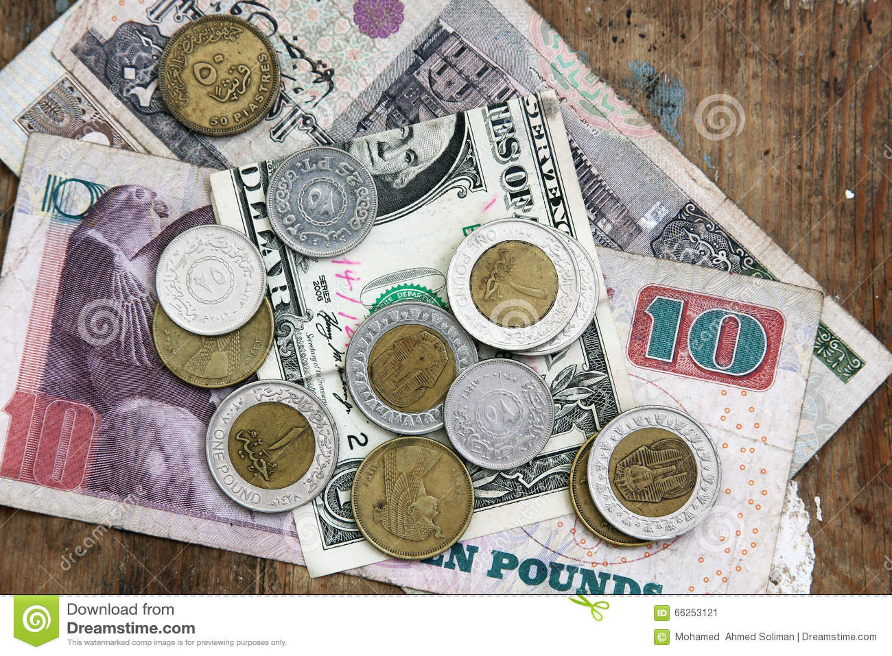 one dollar with egyptian money royaltyfree stock image