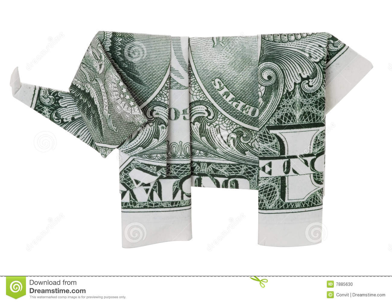 One Dollar Origami Elephant Stock Photo Image Of Bill Dollar 7885630