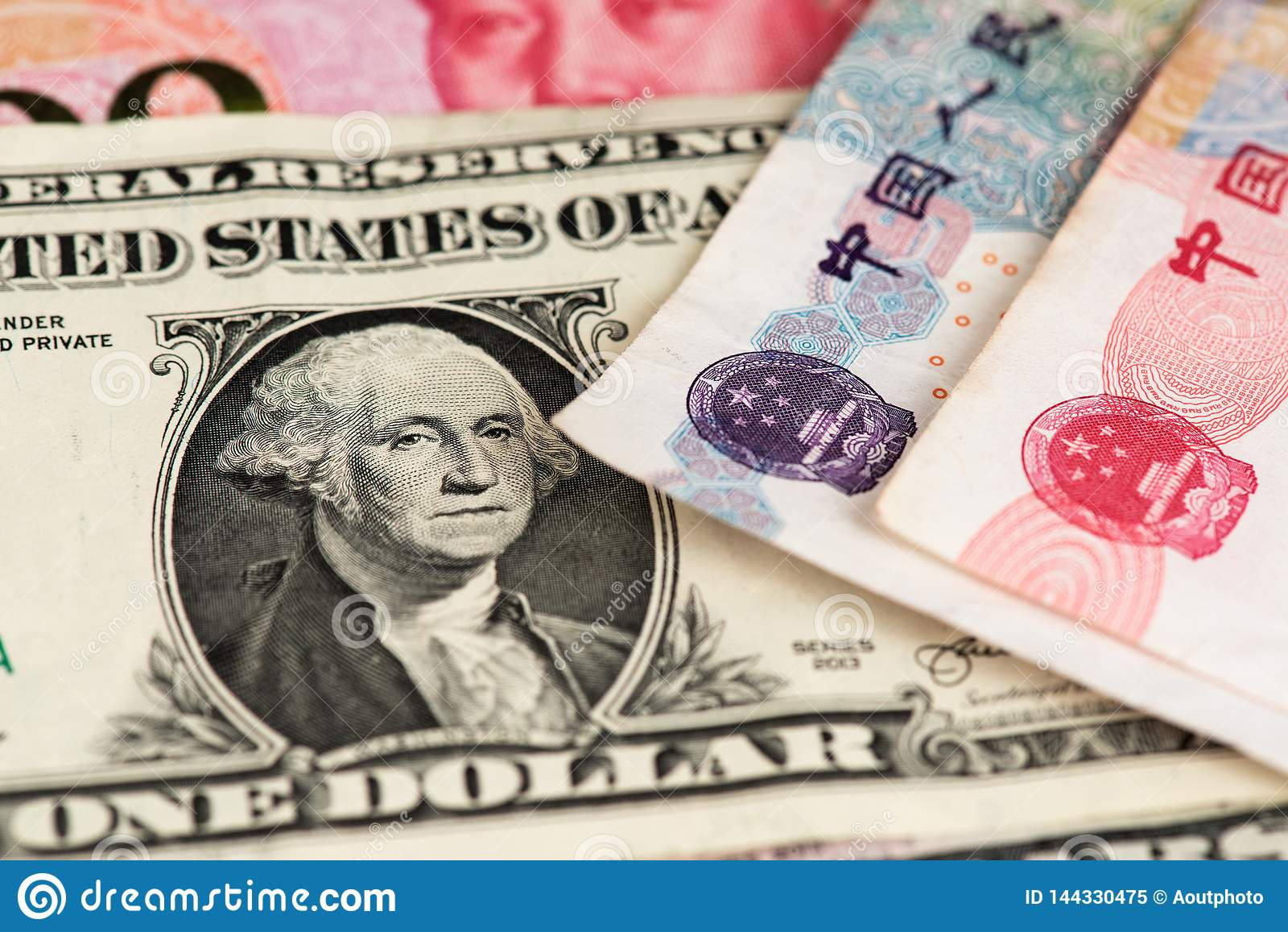 One Dollar And Yuan Renminbi China Currency Banknotes Close Up Image Usd Vs Rmb Stock Image Image Of Chinese Dollar 144330475