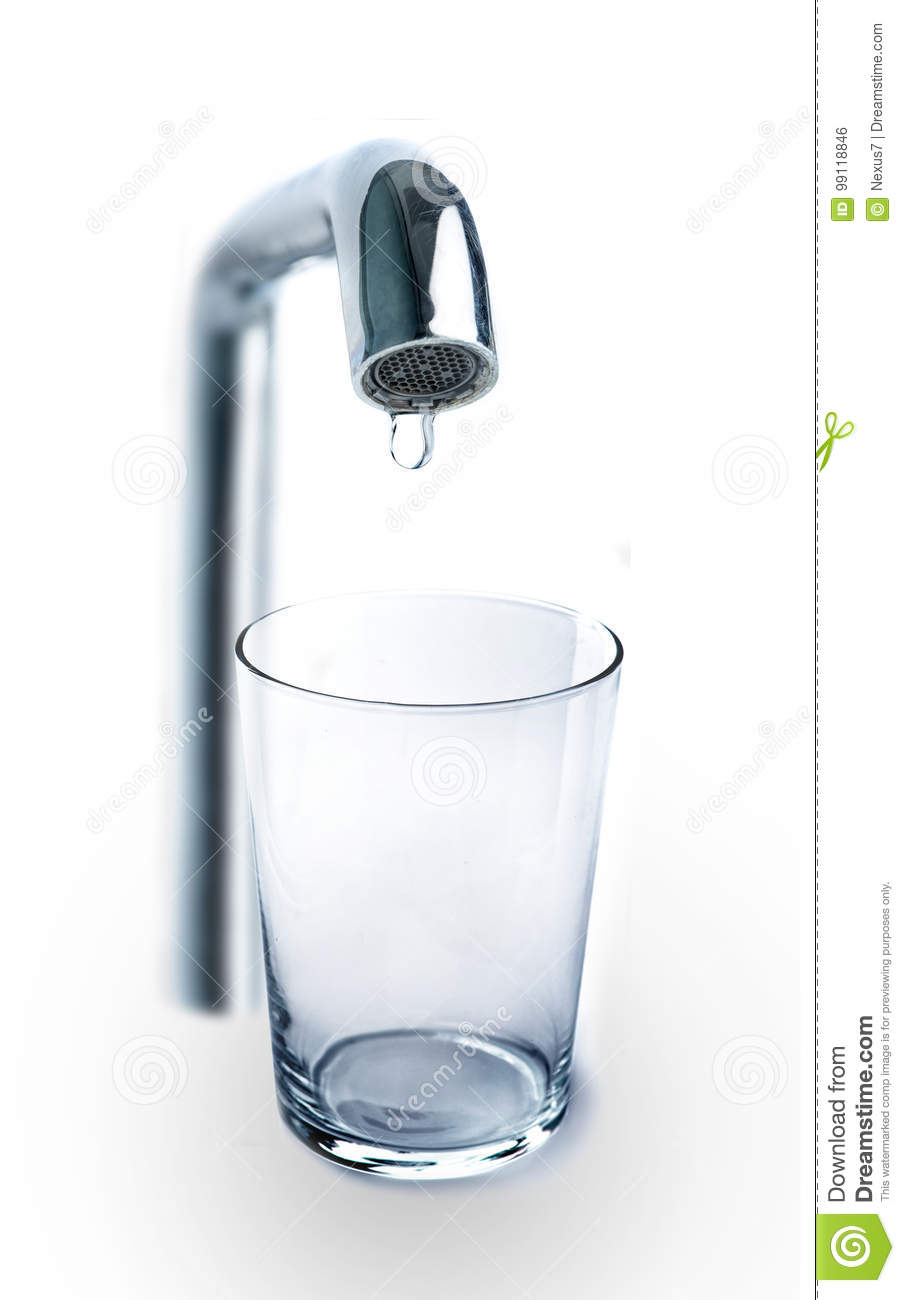 One Drop Of Water Dripping From The Tap Stock Photo Image